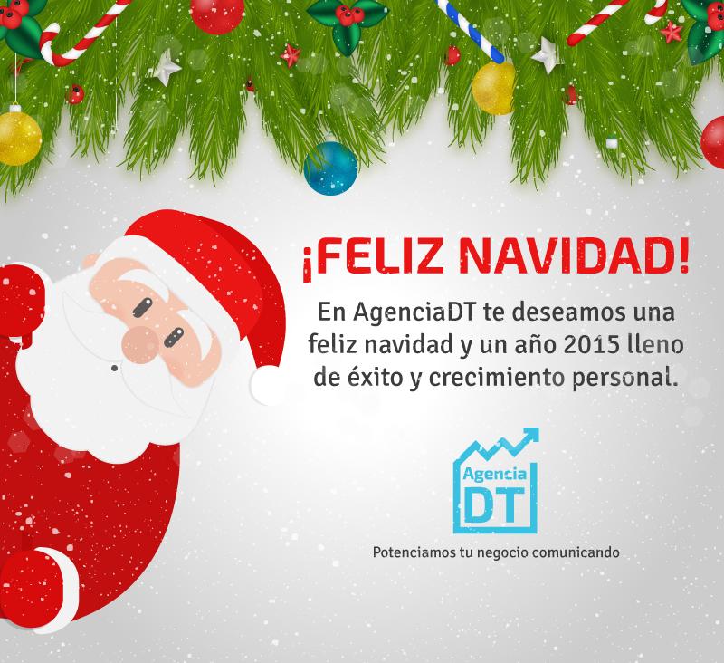 Saludo de navidad de AgenciaDT adjunto en un correo personalizado para clientes actuales.